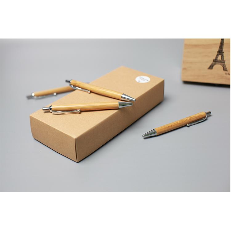 Christmas gift promotional bamboo pen box advertising custom logo bamboo ballpoint pen yiwu pen